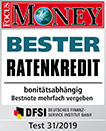 Der FlexoPlus-Kredit ist nach dem FOCUS MONEY-Test Heft 25/2015 bester Ratenkredit online.